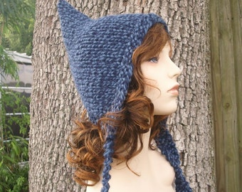 Knit Hat Blue Womens Hat - Pixie Hat in Twist Blue Knit Hat - Blue Hat Blue Pixie Hat - Womens Accessories - READY TO SHIP
