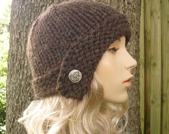 Knit Hat Womens Hat - Cloche Hat in Wood Brown Knit Hat - Brown Hat Brown Beanie Brown Cloche Womens Accessories Winter Hat