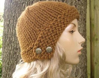 Brown Womens Hat - Brown Cloche Hat Hazelnut Brown Knit Hat - Brown Hat Brown Beanie Chunky Knit Hat Womens Accessories Winter Hat