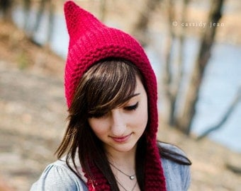 Womens Knitted Cranberry Red Pixie Hat Fall Fashion Winter Accessories