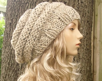 Knit Hat Womens Hat Slouchy Beanie - Oversized Beehive Beret Oatmeal Knit Hat - Oatmeal Hat Oatmeal Beret Oatmeal Beanie