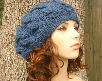 Denim Blue Cable Beret Chunky Knit Hat - Blue Knit Hat Blue Womens Hat - Blue Hat Blue Beanie Blue Beret Womens Accessories