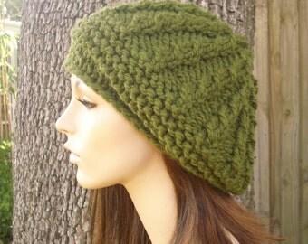 Knit Hat Womens Hat - Big Rasta Thumb Cable Beret Hat in Olive Green Knit Hat - Green Hat Breen Beret Green Beanie Womens Accessories