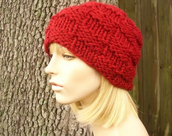 Knit Hat Womens Hat - Basket Weave Beanie in Cranberry Red Knit Hat - Red Hat Red Beanie Womens Accessories Winter Hat