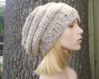 Knit Hat Oatmeal Womens Hat - Original Beehive Beret in Oatmeal Knit Hat - Oatmeal Hat Oatmeal Beret Oatmeal Beanie Womens Accessories