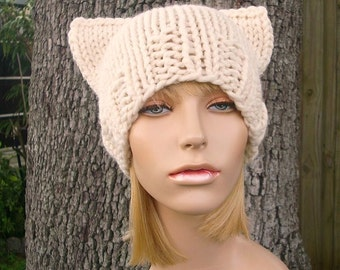 Knit Hat Womens Hat - Cat Beanie Hat in Cream Knit Hat - Cream Hat Womens Accessories Winter Hat