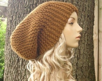 Brown Womens Hat Slouchy Beanie - Oversized Slouchy Hat Hazelnut Brown Knit Hat - Brown Hat Brown Beanie Womens Accessories Winter Hat