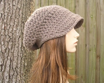 Crochet Hat Womens Hat Taupe Newsboy Hat Brown Newsboy Hat - Brown Hat Taupe Hat Womens Accessories