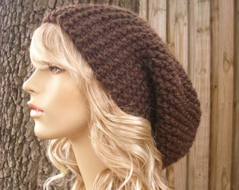 Womens Hat Mens Hat Slouchy Beanie Brown Hat Brown Beanie - Oversized Beanie Slouchy Hat Wood Brown Knit Hat - Womens Accessories Winter Hat