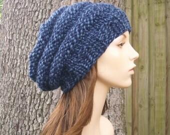 Knit Hat Womens Hat Slouchy Beanie - Oversized Beehive Beret Hat in Twist Blue Knit Hat - Blue Hat Blue Beret Womens Accessories