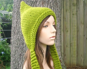 Green Womens Hat - Green Pixie Hat Lemongrass Green Knit Hat - Green Hat Womens Accessories Winter Hat
