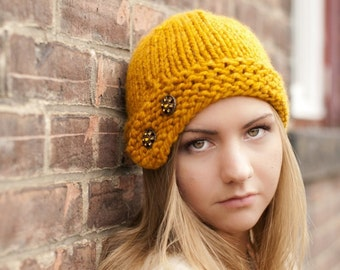 Knit Hat Yellow Womens Hat - Cloche Hat in Mustard Yellow Knit Hat - Yellow Hat Yellow Beanie Mustard Hat Womens Accessories Winter Hat