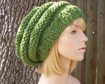 Green Womens Hat Slouchy Beanie - Oversized Beehive Beret Hat Grass Green Knit Hat - Green Hat Green Beret Green Beanie Womens Accessories