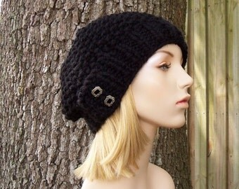 Knit Hat Womens Hat - Seed Beret in Black Knit Hat - Black Hat Black Beret Black Beanie Black Womens Hat Womens Accessories