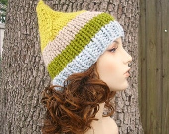 Knit Hat Womens Hat - Gnome Hat in Sunshine Beach Knit Hat - Blue Hat Yellow Hat Green Hat Blue Gnome Hat Womens Accessories Winter Hat