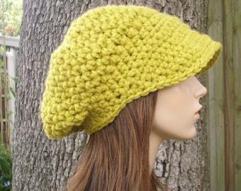 Crochet Hat Womens Hat Yellow Newsboy Hat - Crochet Newsboy Hat in Citron Yellow Crochet Hat - Yellow Hat Yellow Beanie Womens Accessories