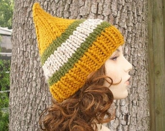 Knit Hat Womens Hat - Gnome Hat in Mad River Glen Knit Hat - Yellow Hat Yellow Beanie Yellow Gnome Hat Womens Accessories Winter Hat