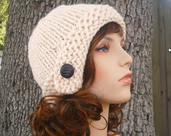 Cream Womens Knit Cloche Hat Beanie - Womens Accessories Fall Fashion Winter Hat