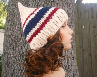 Knit Hat Womens Hat - Gnome Hat in Yacht Club Red Navy Blue Cream Knit Hat - Cream Hat Cream Beanie Womens Accessories Winter Hat