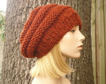 Knit Hat Womens Hat - Original Beehive Beret in Rust Orange Knit Hat - Orange Hat Orange Beret Orange Beanie Womens Accessories