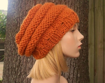 Orange Womens Hat Slouchy Beanie - Original Beehive Beret Apricot Orange Knit Hat - Orange Hat Orange Beret Orange Beanie Womens Accessories
