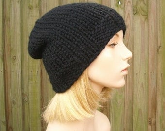 Black Beanie Knit Hat Black Mens Hat Black Womens Hat Black Hat - Ribbed Brim Beanie Black Knit Hat - Womens Accessories Winter Hat
