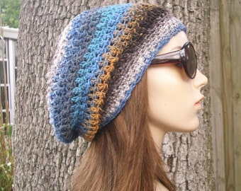 Crochet Hat Womens Hat Slouchy Beanie - Weekender Slouchy Hat in Mosaic Brown and Blue Crochet Hat - Womens Accessories Winter Hat