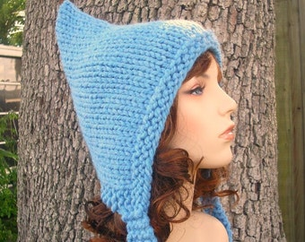 Blue Womens Hat - Sky Blue Pixie Hat Blue Knit Hat - Blue Hat Womens Accessories Fall Fashion Winter Hat