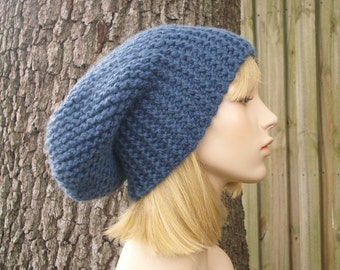Knit Hat Womens Hat Blue Slouchy Beanie - Blue Slouchy Hat in Denim Blue Knit Hat - Blue Hat Blue Beanie Womens Accessories Winter Hat