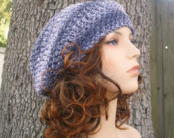 Womens Hat Grey Slouchy Beanie - Weekender Slouchy Hat News Print Grey Crochet Hat - Grey Hat Grey Beanie Womens Accessories Winter Hat