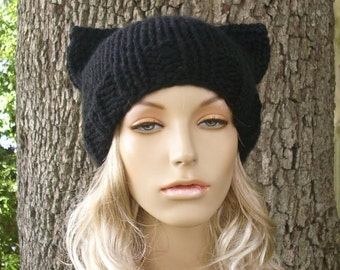 Black Cat Hat Black Cat Beanie Black Knit Hat Black Womens Hat - Black Hat Black Beanie Womens Accessories Winter Hat