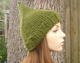 Womens Knit Olive Green Gnome Hat - Womens Accessories Fall Fashion Winter Hat