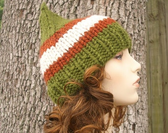 Knit Hat Womens Hat - Gnome Hat in Prelude To Autumn Knit Hat - Green Hat Green Beanie Green Gnome Hat Womens Accessories Winter Hat