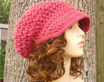 Crochet Hat Pink Womens Hat Pink Newsboy Hat - Crochet Newsboy Hat in Raspberry Pink Crochet Hat - Pink Hat Pink Beanie Womens Accessories