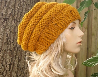 Knit Hat Mustard Womens Hat Slouchy Beanie - Oversized Beehive Beret Hat in Mustard Yellow Knit Hat - Womens Accessories - READY TO SHIP