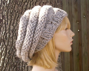 Knit Hat Womens Hat Slouchy Beanie - Oversized Beehive Beret Hat in Grey Marble Tweed Knit Hat - Grey Hat Womens Accessories
