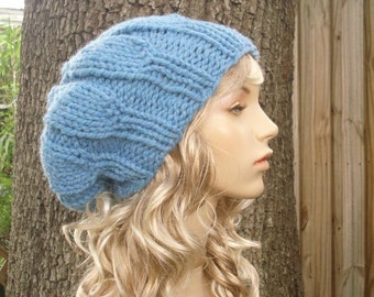 Blue Beret Womens Hat Slouchy Beanie - Urchin Beret Hat Sky Blue Knit Hat - Blue Hat Blue Beanie Womens Accessories Fall Fashion