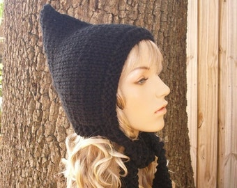 Black Womens Hat - Black Pixie Hat Black Knit Hat - Black Hat Chunky Knit Hat Womens Accessories Fall Fashion Winter Hat