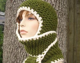 Green Womens Hat Green Scarf Hat - Garter Nomad Hooded Scarf Olive Green Knit Hat Green Hat Green Ear Flap Hat Womens Accessories WInter Hat