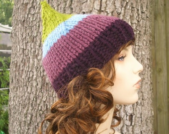 Knit Hat Womens Hat - Gnome Hat in Sugarbush Green Blue Purple Knit Hat - Womens Accessories Winter Hat