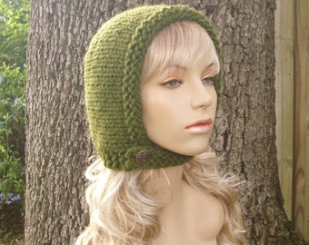 Knit Hat Womens Hat - Pixie In Training Aviator Cap in Olive Green Knit Hat - Green Hat Green Hood Womens Accessories Winter Hat