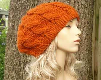 Knit Hat Orange Womens Hat - Orange Cable Beret Hat Pumpkin Orange Knit Hat - Orange Hat Orange Beret Orange Beanie Womens Accessories