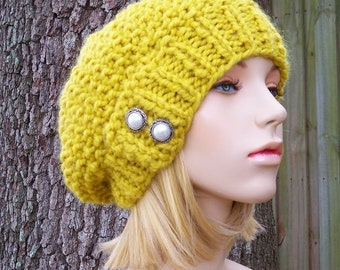 Knit Hat Womens Hat Slouchy Hat - Seed Beret Hat in Citron Yellow Knit Hat - Yellow Hat Yellow Beret Yellow Beanie Womens Accessories