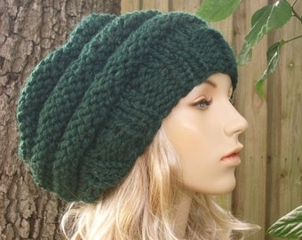 Knit Hat Womens Hat Slouchy Beanie - Oversized Beehive Beret Hat Pine Green Knit Hat - Green Hat Green Beret Green Beanie Womens Accessories