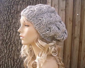Knit Hat Grey Womens Hat Slouchy Hat - Grey Cable Beret Hat in Tweed Grey Knit Hat - Grey Hat Grey Beret Grey Beanie Womens Accessories