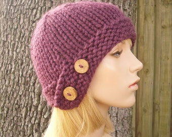 Fig Purple Cloche Hat Chunky Knit Hat Womens Hat - Purple Hat Purple Beanie Womens Accessories Fall Fashion Winter Hat