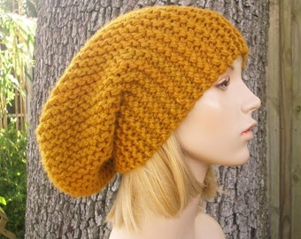 Knit Hat Womens Hat Slouchy Beanie Oversized Beanie Slouchy Hat in Mustard Yellow - Yellow Hat Mustard Hat Womens Accessories Winter Hat