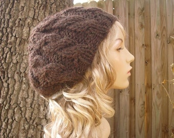 Knit Hat Womens Hat Slouchy Beanie - Brown Cable Beret Hat in Wood Brown Knit Hat - Brown Beret Brown Hat Womens Accessories