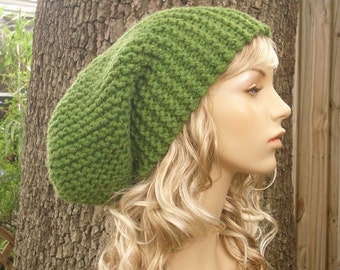 Knit Hat Womens Hat Green Slouchy Beanie - Green Slouchy Hat in Grass Green Knit Hat - Green Hat Green Beanie Womens Accessories Winter Hat