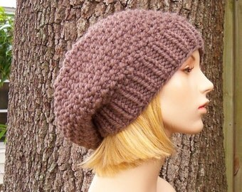 Taupe Brown Knit Hat Taupe Womens Hat - Seed Beret Hat Brown Hat Brown Beanie Brown Beret Taupe Hat Taupe Beret Womens Accessories